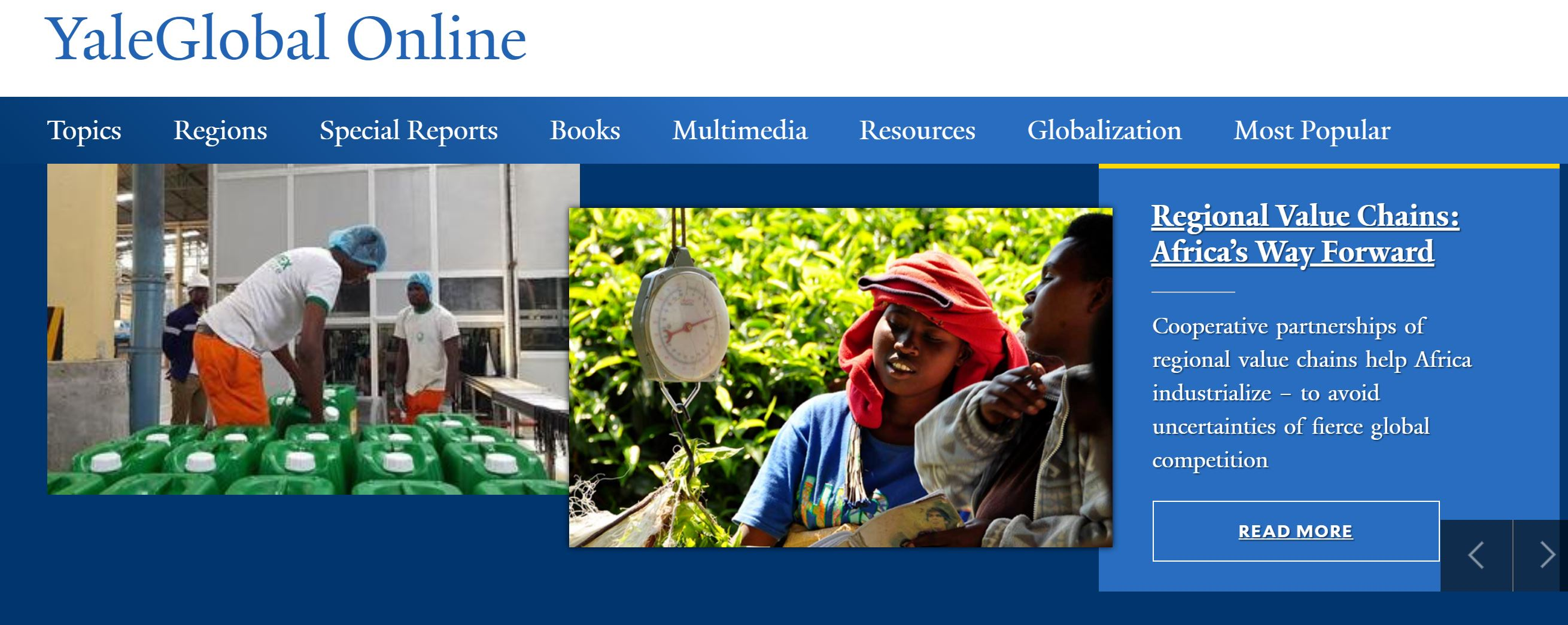 "Yale Global: ""Regional Value Chains: Africa's Way Forward"